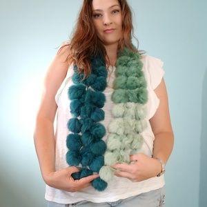 Ombre Rabbit fur pompom scarf